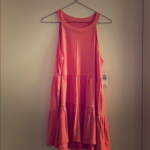Wild orange tiered baby doll sleeveless shirt